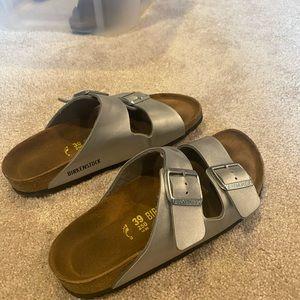 Silver Birkenstock's Arizona Soft Footbed